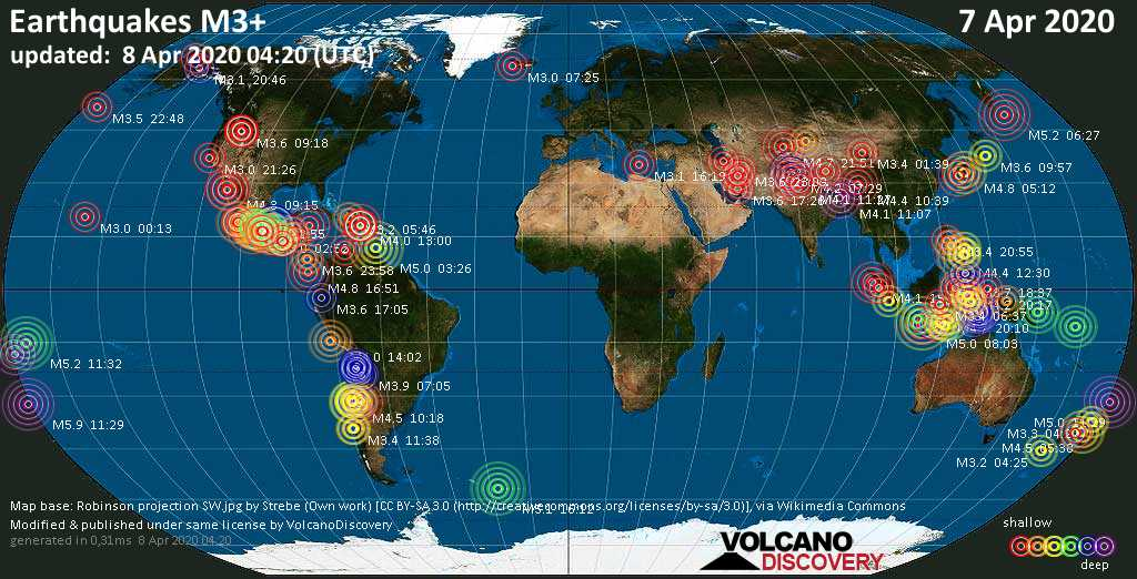World map showing earthquakes above magnitude 3 during the past 24 hours on  8 Apr 2020