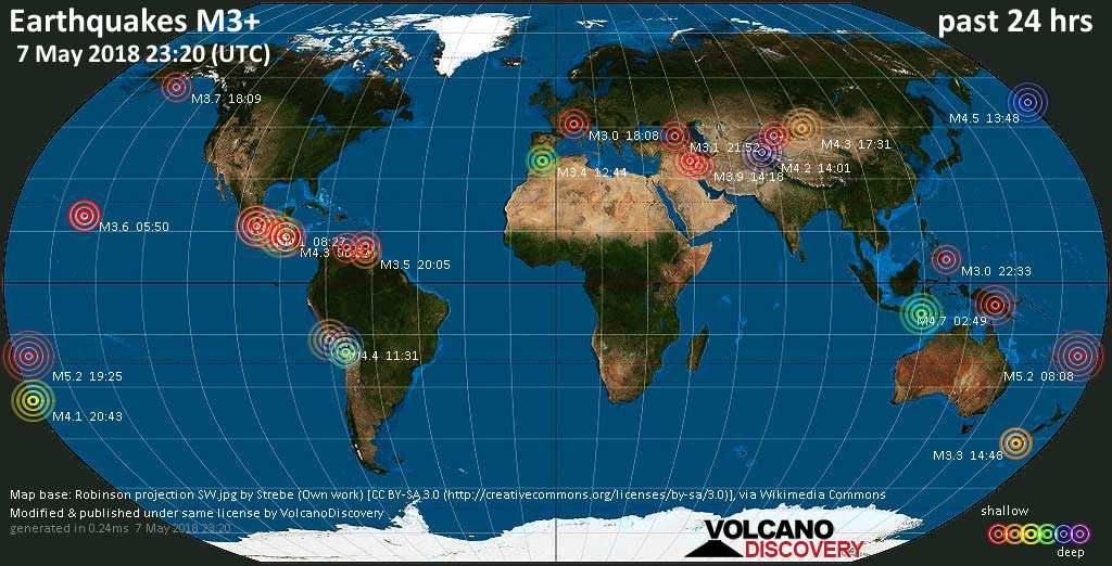 World map showing earthquakes above magnitude 3 during the past 24 hours on  7 May 2018