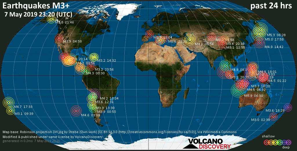 World map showing earthquakes above magnitude 3 during the past 24 hours on  7 May 2019