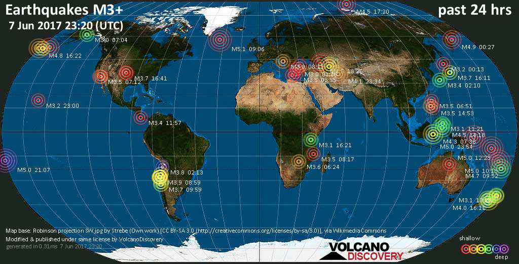 World map showing earthquakes above magnitude 3 during the past 24 hours on  7 Jun 2017