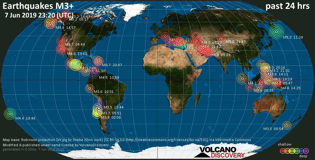 World map showing earthquakes above magnitude 3 during the past 24 hours on  7 Jun 2019