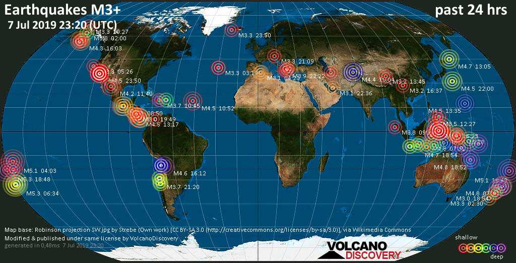 World map showing earthquakes above magnitude 3 during the past 24 hours on  7 Jul 2019