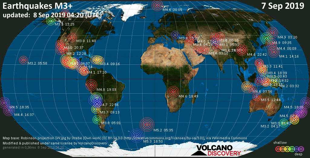 World map showing earthquakes above magnitude 3 during the past 24 hours on  8 Sep 2019