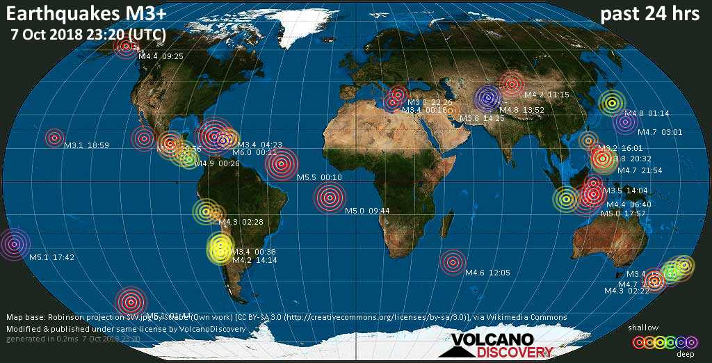 World map showing earthquakes above magnitude 3 during the past 24 hours on  7 Oct 2018