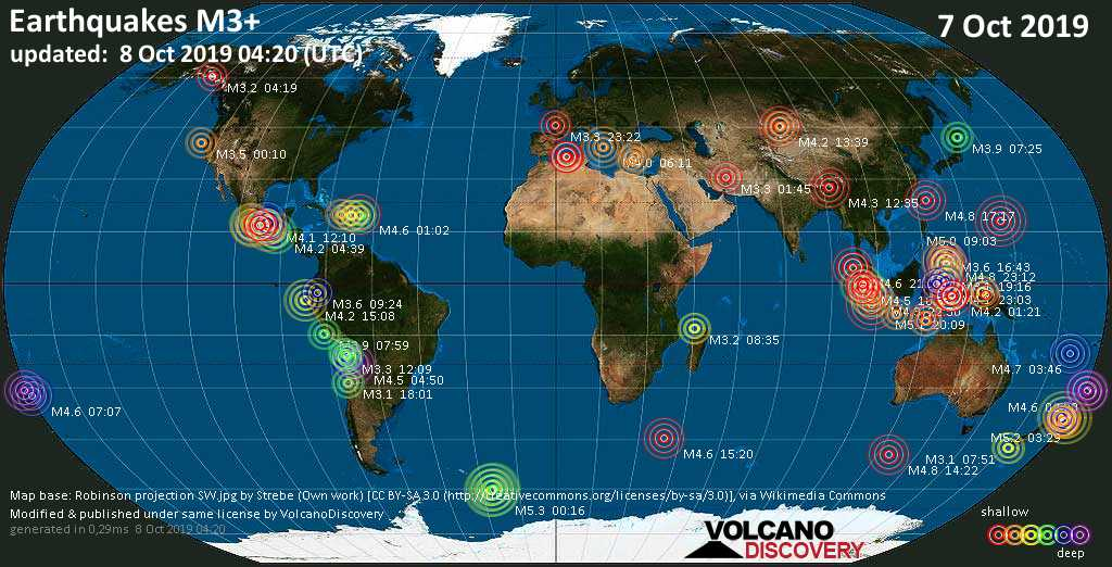 World map showing earthquakes above magnitude 3 during the past 24 hours on  8 Oct 2019