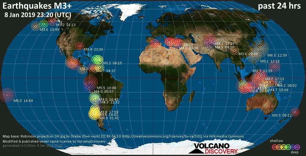 World map showing earthquakes above magnitude 3 during the past 24 hours on  8 Jan 2019