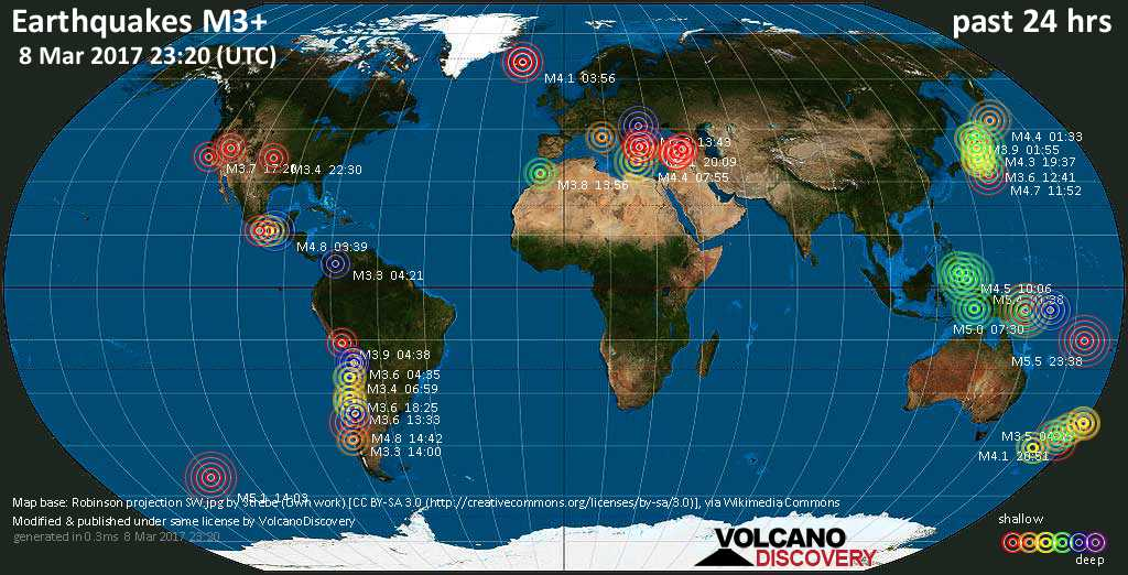 World map showing earthquakes above magnitude 3 during the past 24 hours on  8 Mar 2017