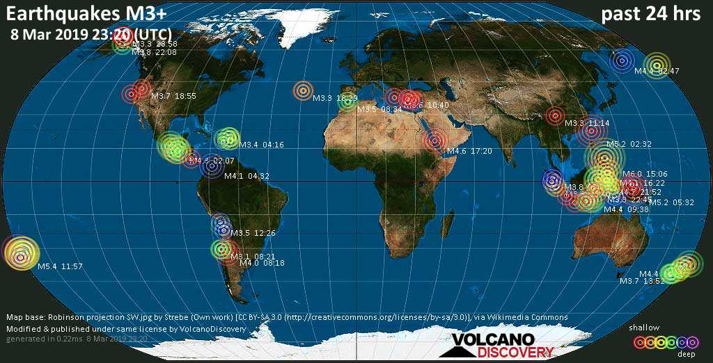 World map showing earthquakes above magnitude 3 during the past 24 hours on  8 Mar 2019