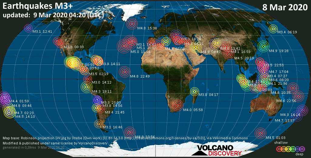 World map showing earthquakes above magnitude 3 during the past 24 hours on  9 Mar 2020