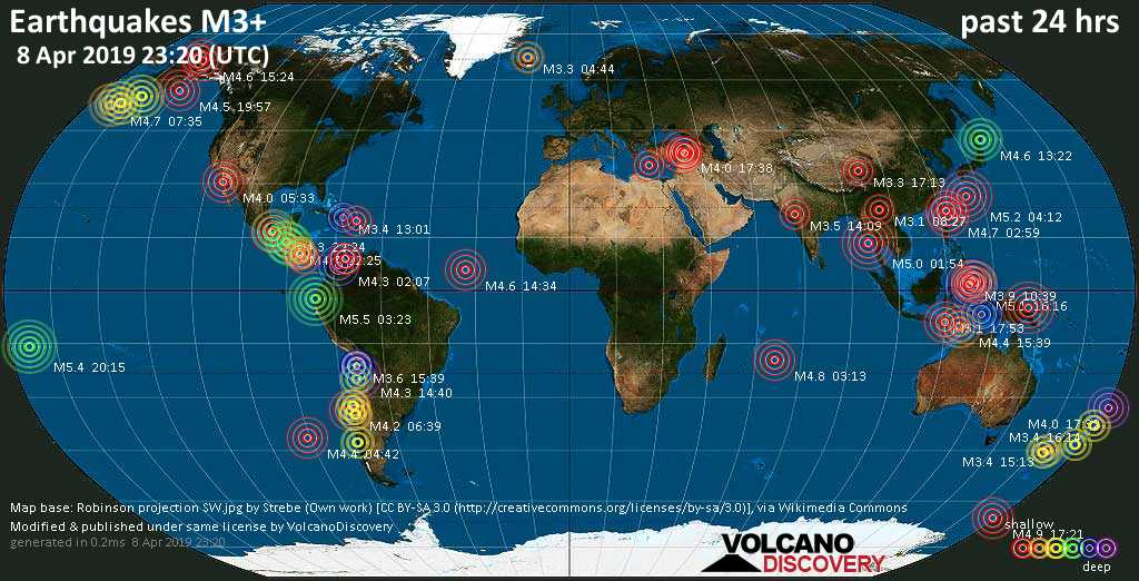 World map showing earthquakes above magnitude 3 during the past 24 hours on  8 Apr 2019