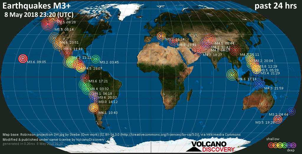World map showing earthquakes above magnitude 3 during the past 24 hours on  8 May 2018