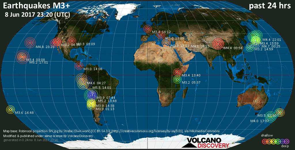 World map showing earthquakes above magnitude 3 during the past 24 hours on  8 Jun 2017