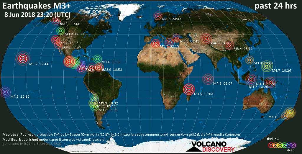 World map showing earthquakes above magnitude 3 during the past 24 hours on  8 Jun 2018