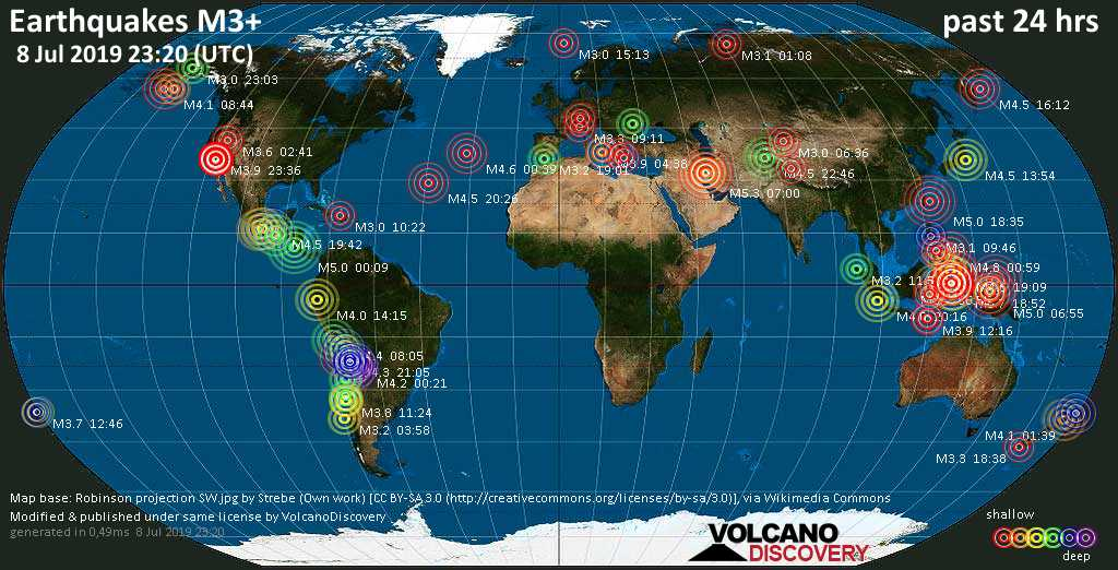 World map showing earthquakes above magnitude 3 during the past 24 hours on  8 Jul 2019