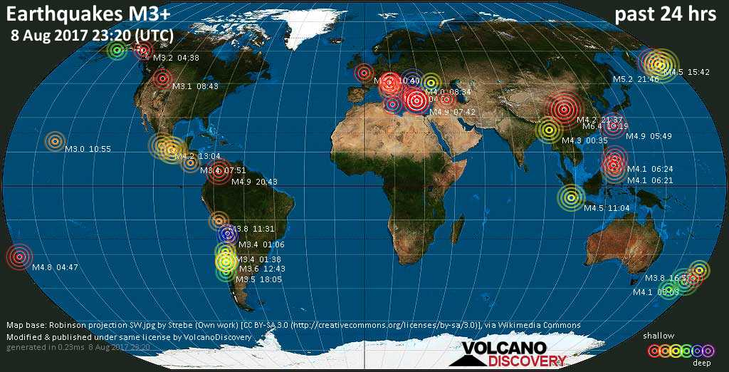 World map showing earthquakes above magnitude 3 during the past 24 hours on  8 Aug 2017