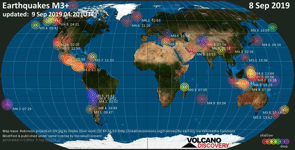World map showing earthquakes above magnitude 3 during the past 24 hours on  9 Sep 2019
