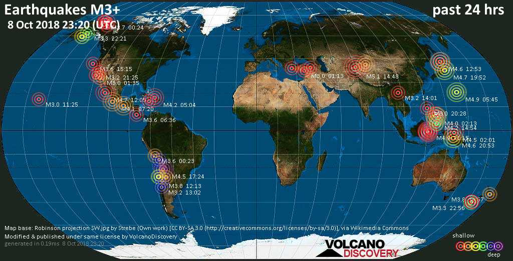 World map showing earthquakes above magnitude 3 during the past 24 hours on  8 Oct 2018
