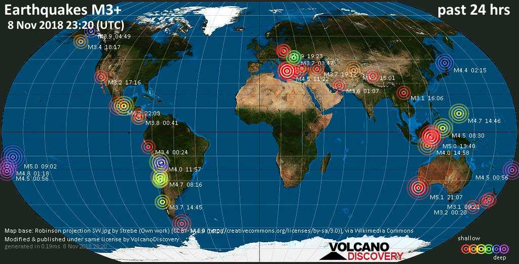 World map showing earthquakes above magnitude 3 during the past 24 hours on  8 Nov 2018