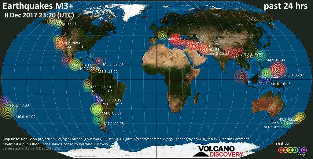 World map showing earthquakes above magnitude 3 during the past 24 hours on  8 Dec 2017
