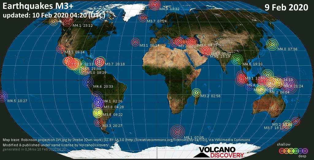 World map showing earthquakes above magnitude 3 during the past 24 hours on 10 Feb 2020