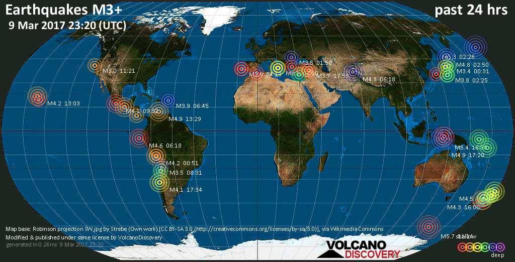 World map showing earthquakes above magnitude 3 during the past 24 hours on  9 Mar 2017