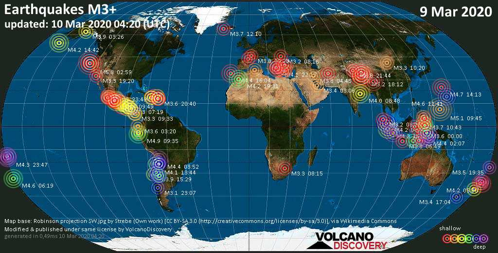 World map showing earthquakes above magnitude 3 during the past 24 hours on 10 Mar 2020