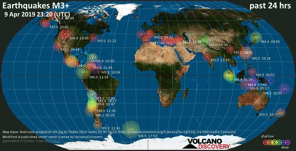 World map showing earthquakes above magnitude 3 during the past 24 hours on  9 Apr 2019