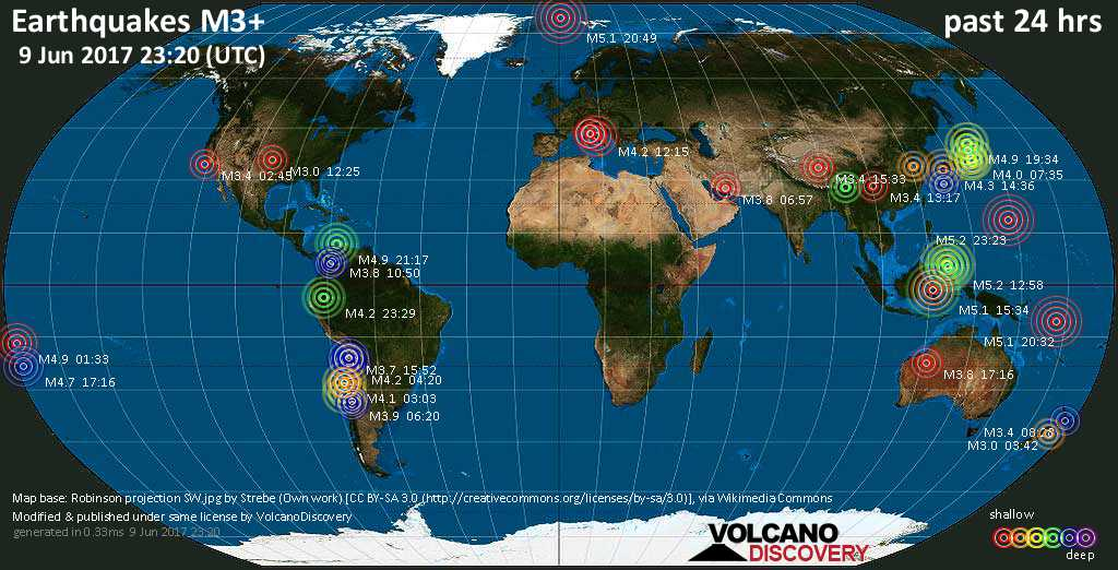 World map showing earthquakes above magnitude 3 during the past 24 hours on  9 Jun 2017