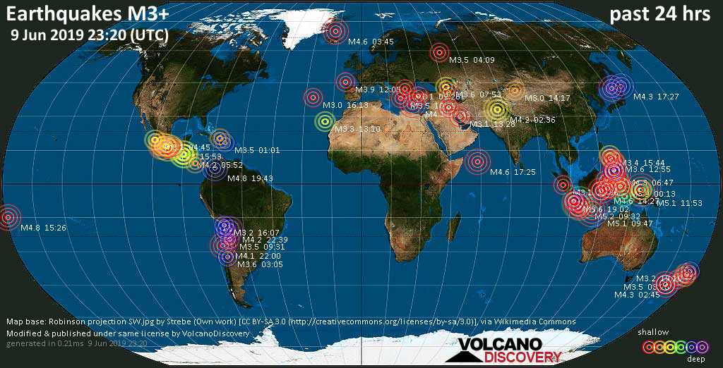 World map showing earthquakes above magnitude 3 during the past 24 hours on  9 Jun 2019