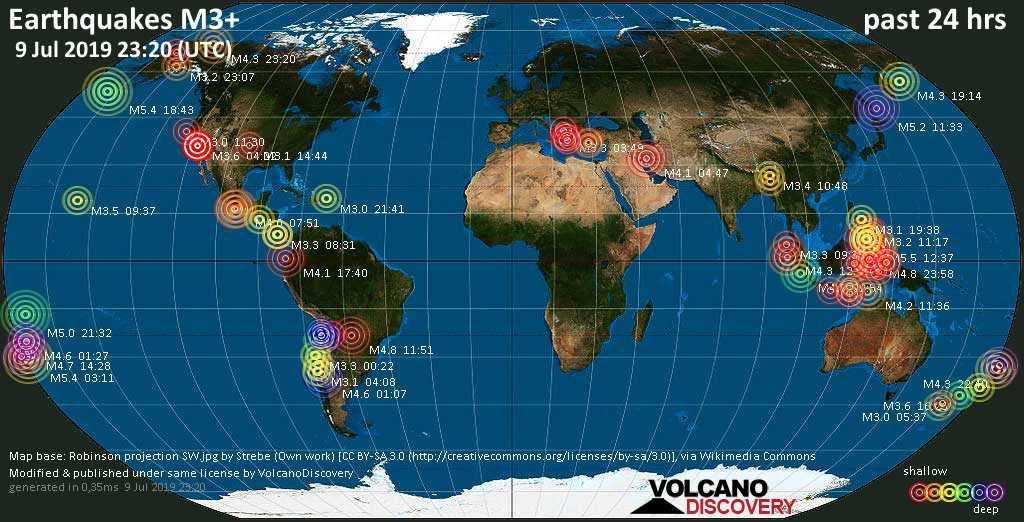Weltkarte mit Erdbeben über Magnitude 3 während den letzten 24 Stunden past 24 hours am  9. Juli 2019