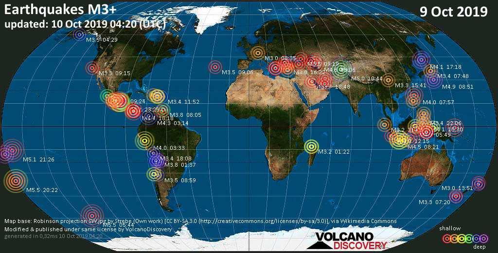 Mappa del mondo che mostra i terremoti sopra la magnitudo 3 nelle ultime 24 ore il 10 octubre 2019