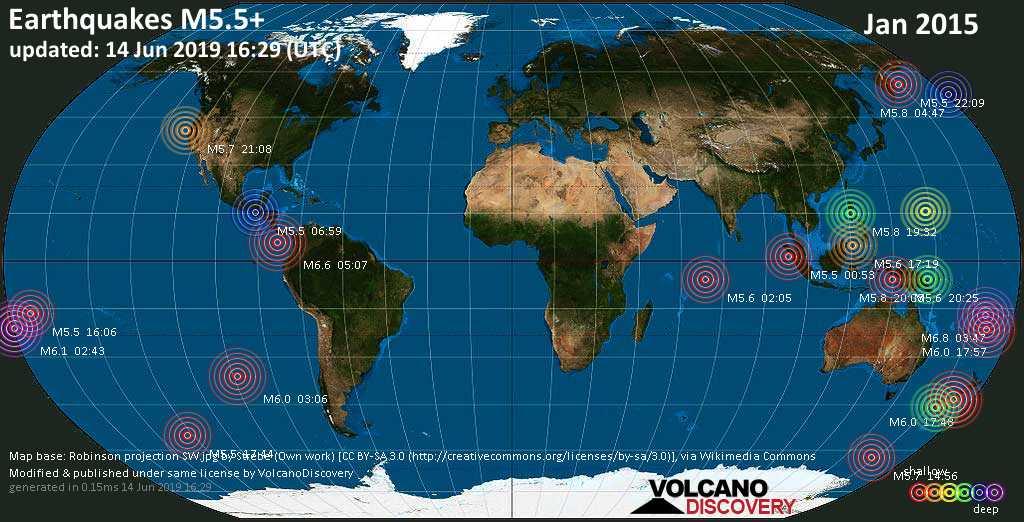 World map showing earthquakes above magnitude 5.5 during January 2015