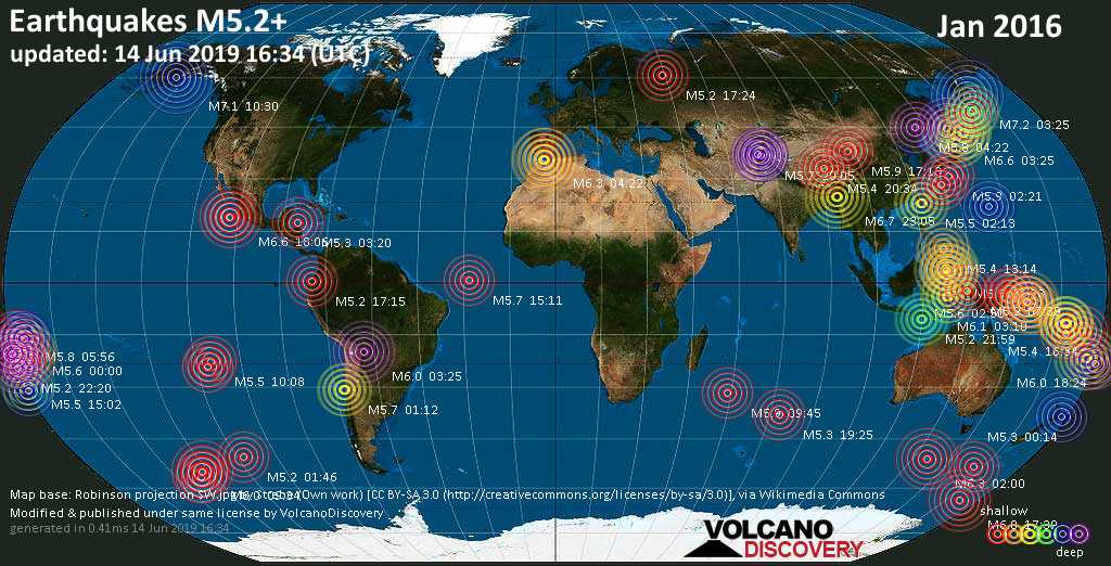 World map showing earthquakes above magnitude 5.2 during January 2016