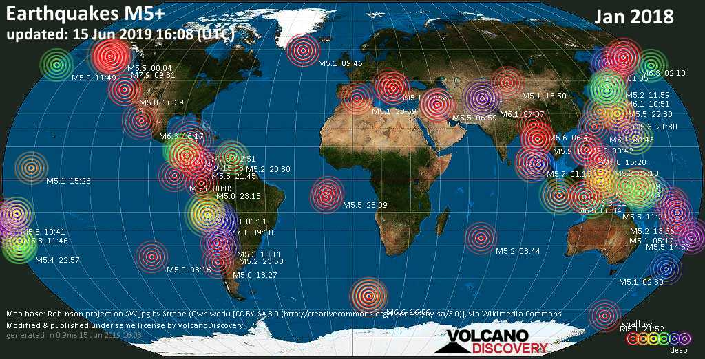 World map showing earthquakes above magnitude 5 during January 2018