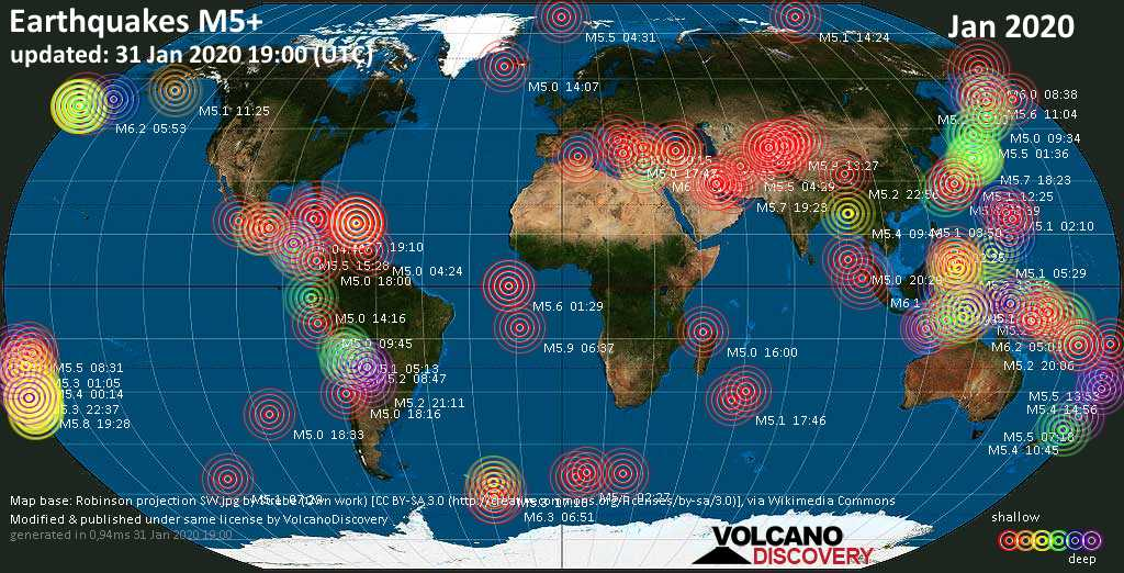 World map showing earthquakes above magnitude 5 during January 2020