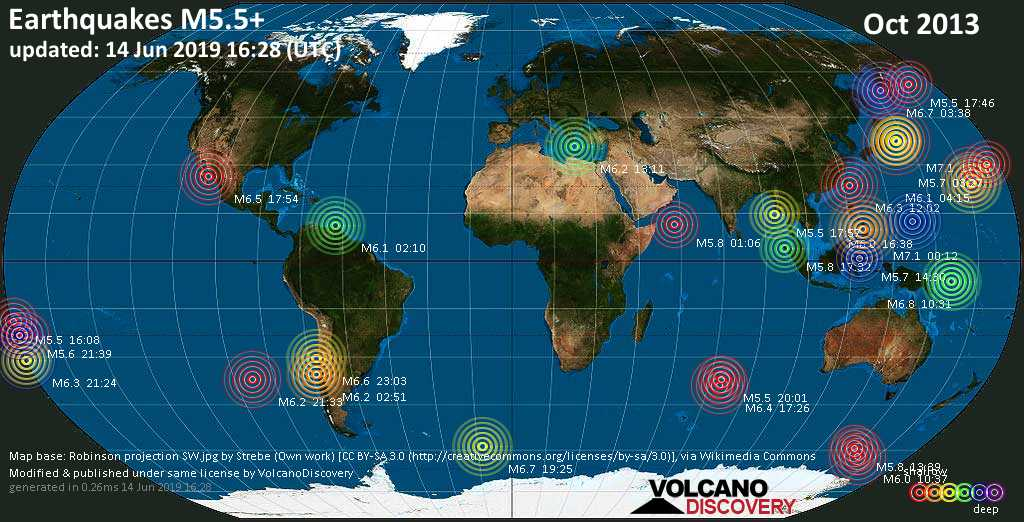 World map showing earthquakes above magnitude 5.5 during October 2013
