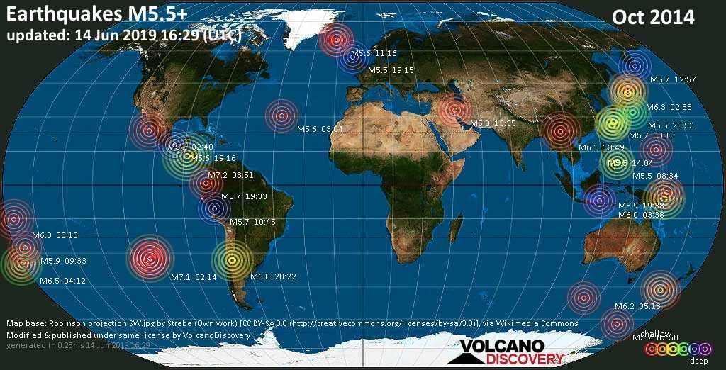 World map showing earthquakes above magnitude 5.5 during October 2014