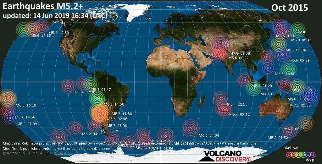 World map showing earthquakes above magnitude 5.2 during October 2015