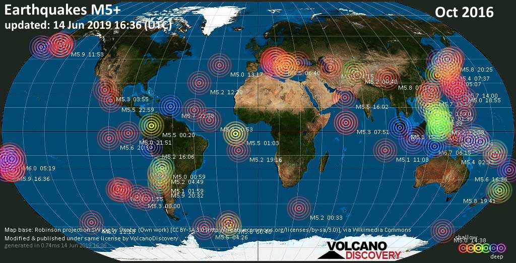 World map showing earthquakes above magnitude 5 during October 2016