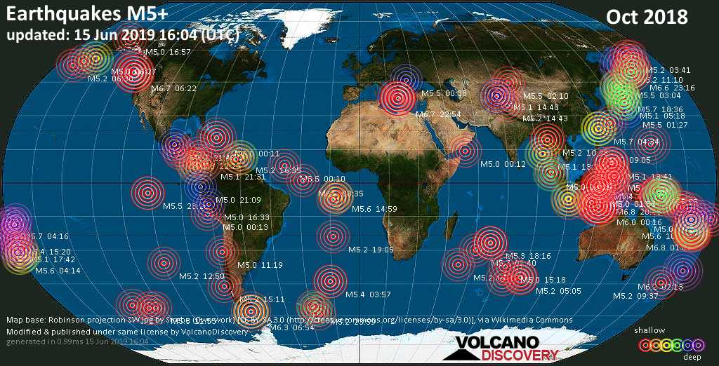World map showing earthquakes above magnitude 5 during October 2018