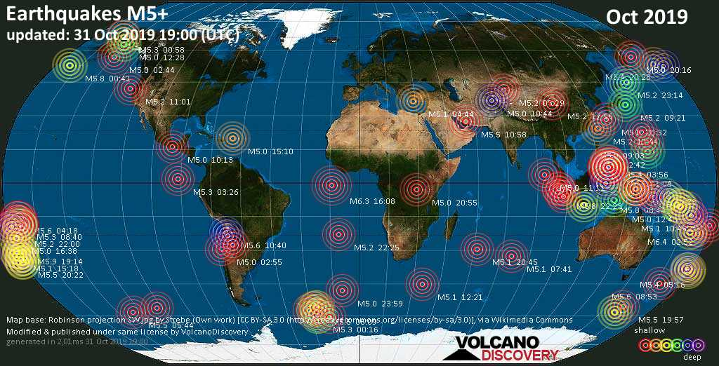 World map showing earthquakes above magnitude 5 during October 2019
