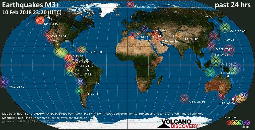 World map showing earthquakes above magnitude 3 during the past 24 hours on 10 Feb 2018