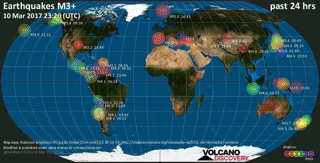 World map showing earthquakes above magnitude 3 during the past 24 hours on 10 Mar 2017