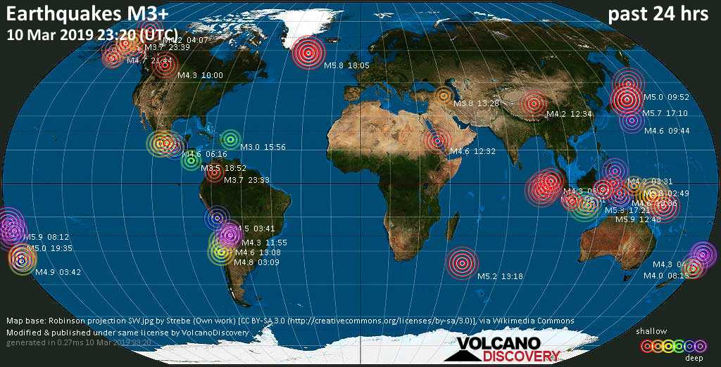 World map showing earthquakes above magnitude 3 during the past 24 hours on 10 Mar 2019