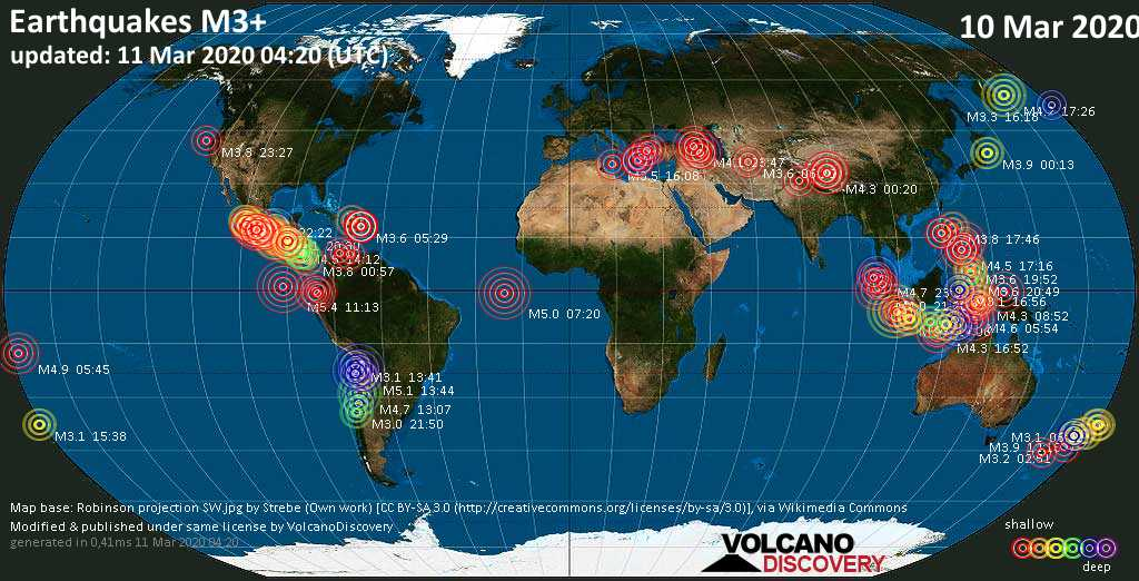 World map showing earthquakes above magnitude 3 during the past 24 hours on 11 Mar 2020