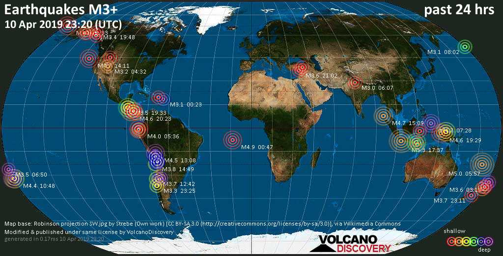World map showing earthquakes above magnitude 3 during the past 24 hours on 10 Apr 2019