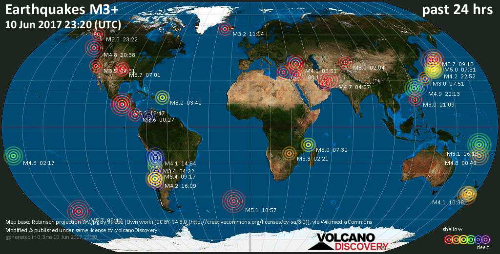 World map showing earthquakes above magnitude 3 during the past 24 hours on 10 Jun 2017
