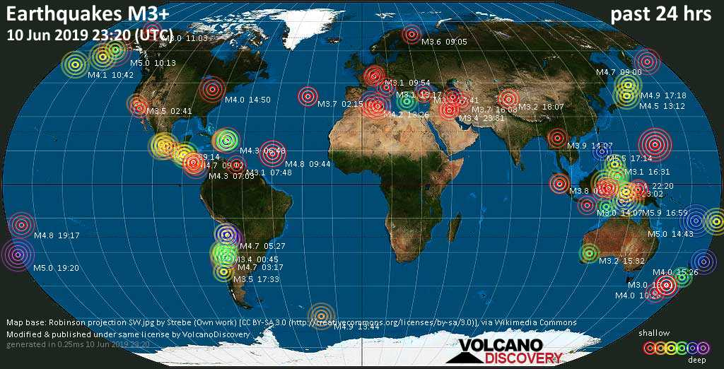 World map showing earthquakes above magnitude 3 during the past 24 hours on 10 Jun 2019