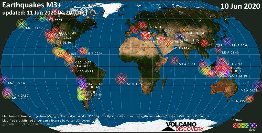 World map showing earthquakes above magnitude 3 during the past 24 hours on 11 Jun 2020