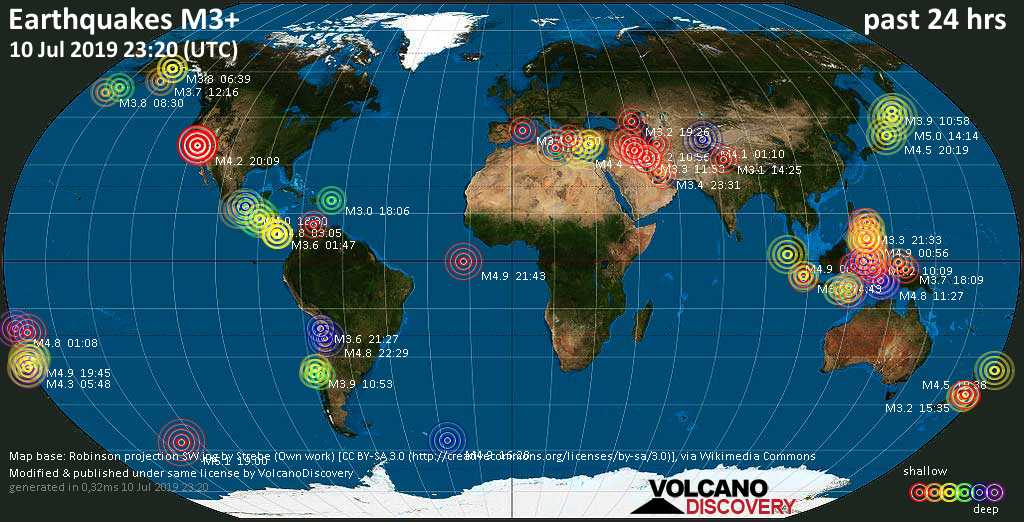 World map showing earthquakes above magnitude 3 during the past 24 hours on 10 Jul 2019